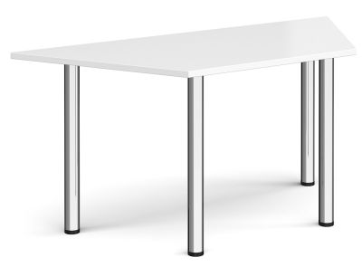 Trapezoidal Table With A White Top And Chrome Legs