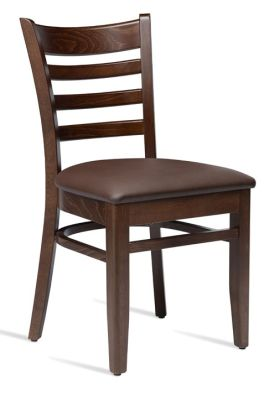Devon Wooden Dining Chair With A Walnut Frame And Faux Leather Seat