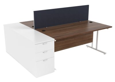 Zone Two Person Desk Height Pedestal Bundle In Walnut & White