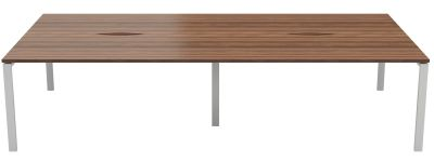 Zone Four Person Bench Desk With A Dark Walnut Top And Silver Frame