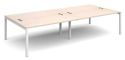 Sequest Four Person Bench With A Maple Top And White Frame