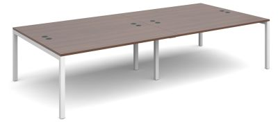 Sequest Fopur Person Bench Desk With A Walnut Top And White Frame