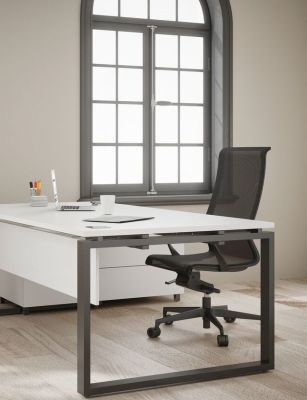 Prestige Exec Desk White With Blqack Frame