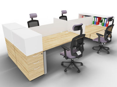 Astro Four Person Bench Desk End Storage Side