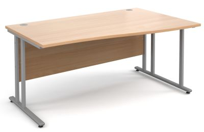 MOmento Right Hand Wave Desk With A Beech Top And Silver Frame