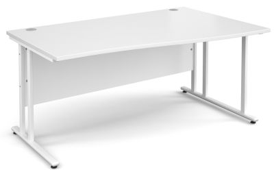 Momento White Hand Wave Desk In White With A White Frame