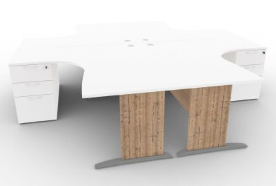 Osmose Four Cantilever Corner Desk And Pedestal Bundle White And Timber
