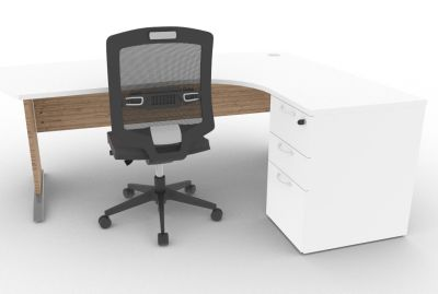 Osmose Manager Corner Desk And Pedestal White And Timber Mood View