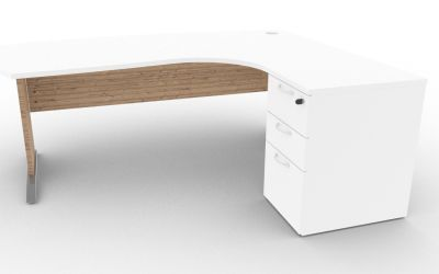 Osmose Manager Corner Desk And Pedestal White And Timber