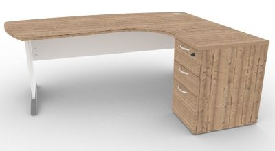 Osmose Manager Corner Desk And Pedestal Timber And White