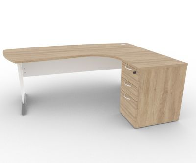 Osmose Manager Corner Desk And Pedestal Nebraska Oak
