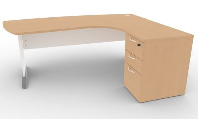 Osmose Manager Corner Desk And Pedestal Beech