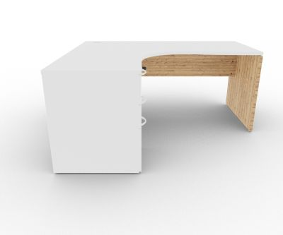 Osmose Left Hand Corner Desk Pedestal Bundle White And Timber Front View
