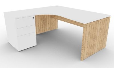 Osmose Left Hand Corner Desk Pedestal Bundle White And Timber View