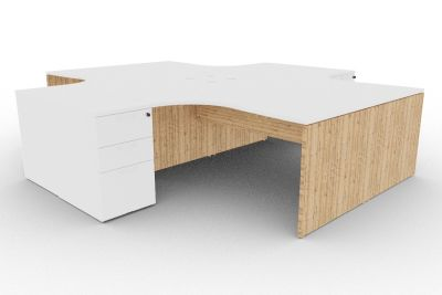 Osmose Four Cantilever Corner Desk And Pedestal Bundle White And Timber View