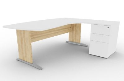 Osmose Manager Corner Desk And Pedestal White And Nebraska Oak View