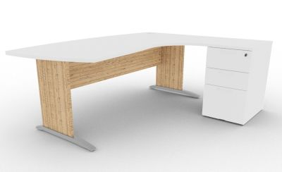Osmose Manager Corner Desk And Pedestal White And Timber View