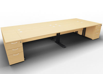 Optineo Four Desk And Pedestal Beech