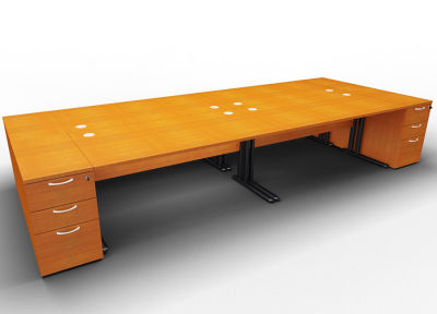 Optineo Four Desk And Pedestal Cherry