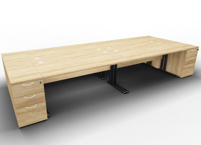 Optineo Four Desk And Pedestal Nebraska Oak