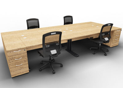 Optineo Four Desk And Pedestal Timber Chairs