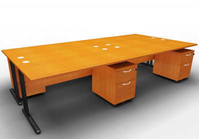 Optineo Four Desk And Mobile Pedestal Bundle Cherry