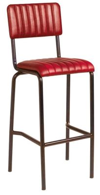 Brilliant Kilo Vintage Ribbed Leather High Stool Red Alphanode Cool Chair Designs And Ideas Alphanodeonline