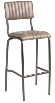 Kilo Vintage Ribbed Leather High Stool - Silver