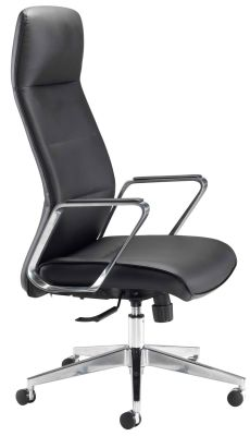 Dallas Executive Black Leather Chair Side View