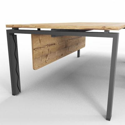 ASTROBE66 - Executive Desk + Extension - Timber + Raw - Magnetic Cable Tray