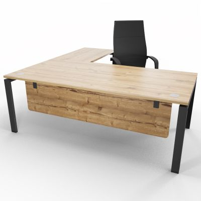 ASTROBE66 - Executive Desk + Extension - Timber + Raw - Privacy Screen Front