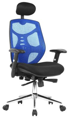 Empuria High Back Mesnh Task Chair In Blue Front Angle View