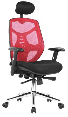 Epuria Chair With A Red Mesh Back Lfront Anglle Vkiew