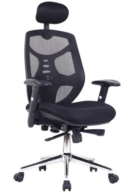 Empuria Chair With A Black Mesh Back Front Angle View