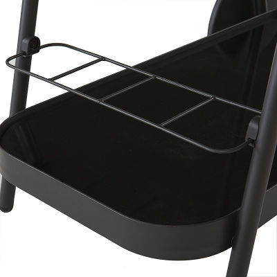 Outdoor Charcoal Grey Aluminium Bar Trolley With Bottle Rack