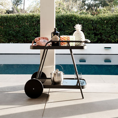 Outdoor Charcoal Grey Aluminium Drinks Trolley With Glass Shelves