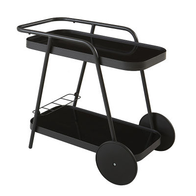 Outdoor Grey Aluminium Bar Trolley With Black Glass Shelving And Bottle Rack