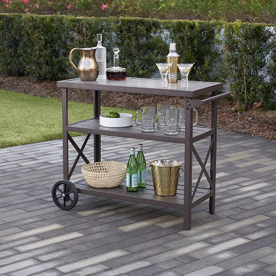 Homestead 3-shelf Dark Brown Serving Cart With 2 Wheels