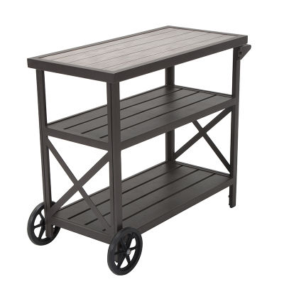 Homestead Rustic Dark Brown Aluminium Three-shelf Serving Cart