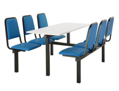 Cheshire 6 Person Double Access Fast Food Seating With Blue Vinyl Seating And White Table Top