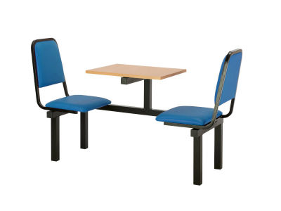 Cheshire 2 Person Single Access Fast Food Seating With Blue Vinyl Seating And Beech Table Top
