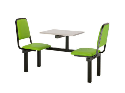 Cheshire 2 Person Single Access Fast Food Seating With Green Vinyl Seating And Grey Table Top