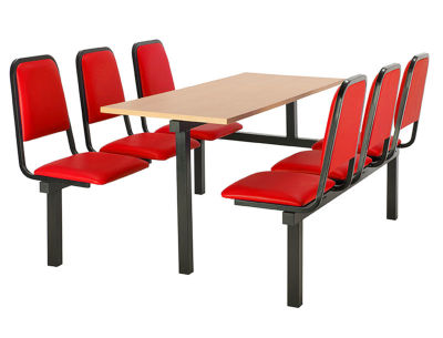Cheshire 6 Person Single Access Fast Food Seating With Red Vinyl Seating And Beech Table Top