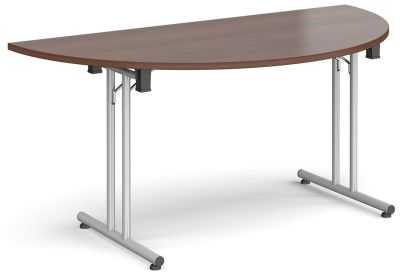 Murco Folding Half Moon Table With Walnut Top And Silver Legs