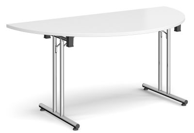 Murco Folding Half Moon Table With A White Top And Chrome Frame