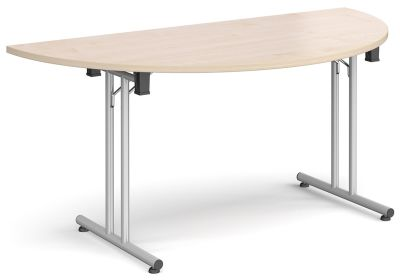 Murco Half Moon Table With A Maple Top And Silver Frame