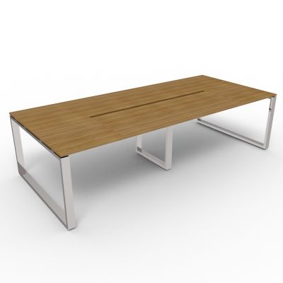 Rectangular Loop Frame Table With Recessed Central Legs In A Chrome Finish, Choose From 10 Top Finishes
