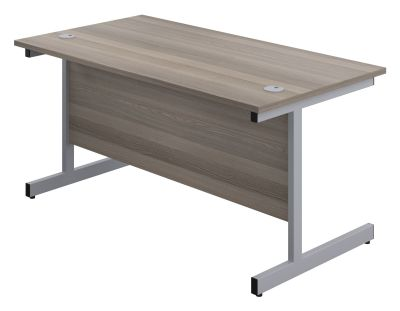 Abacus 1200mm Shalow Desk In Grey Oak Front Angle View
