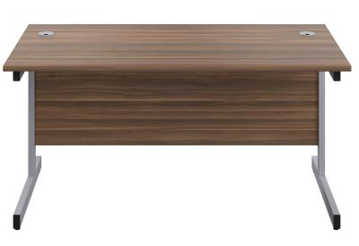 Abacus 600mm Deep Desk In Walnut Front View