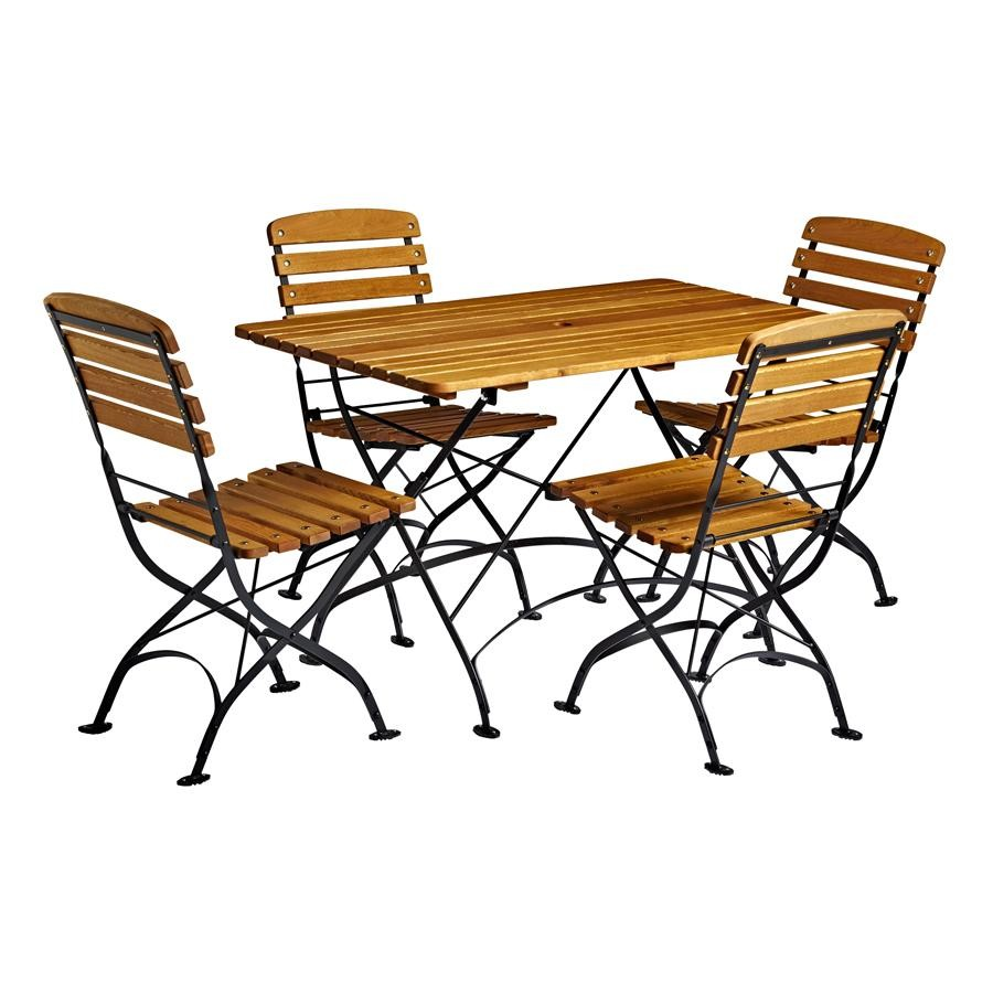 An image of Terrace Folding Wooden Table & Side Chair Bundle